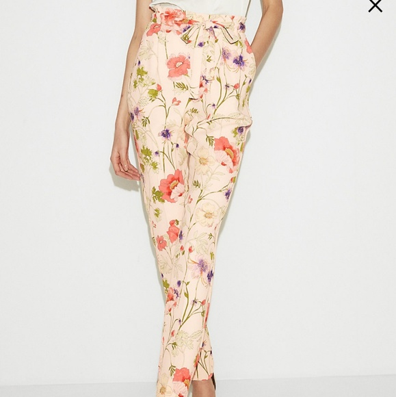 57873b130218 EXPRESS High waisted sash tie floral ankle pants